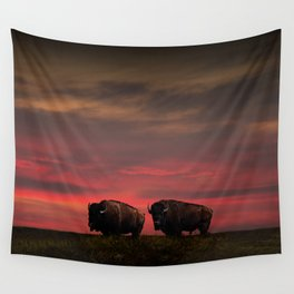 Two American Buffalo Bison at Sunset Wall Tapestry