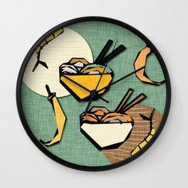 Noodle Bowl retro green Wall Clock