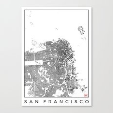 San Francisco Map Schwarzplan Only Buildings Canvas Print
