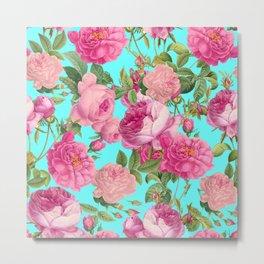Vintage & Shabby Chic - Summery Rose Flowers Garden Pattern Metal Print