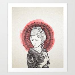 Japanese flag and Geisha Art Print