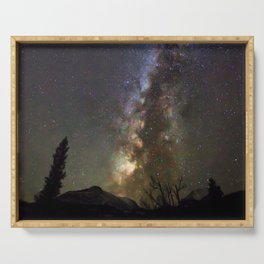 Watercolor Nightscape Milky Way from Storm Pass, Rocky Mountain National Park, CO Serving Tray