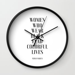 Fashion Poster I Wear Only Black Printable Quotes Women Gift Gift For Her Girls Room Decor fashion Wall Clock