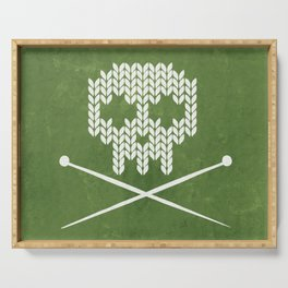 Knitted Skull - White on Olive Green Serving Tray