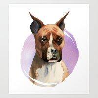 Boxer Dog Watercolor Painting 2 Art Print