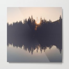 Wooded Lake Reflection Metal Print