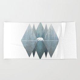 Misty Forest Mountain Bear Beach Towel