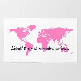 Tolkien Quote + Bright Pink World Map Rug
