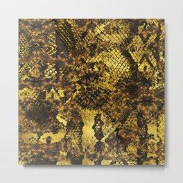 Faux gold snake skin texture on dark marble Metal Print