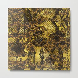 Faux gold snake skin texture on dark marble Metal Print