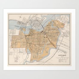 Vintage Map of Ottawa Canada (1915) Art Print