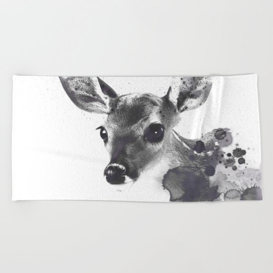Watercolor Deer Beach Towel