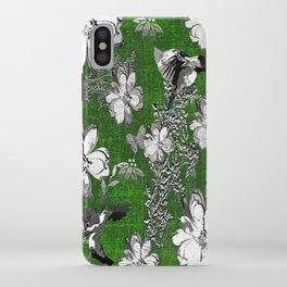 Birds Green Gray White Toile iPhone Case