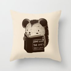 Hedgehog Book Don't Hurt The Ones You Love Throw Pillow