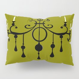 A Chandler with Candles and a Green Background Pillow Sham