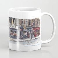 denmark Mugs featuring Denmark Street, London by Pete Scully
