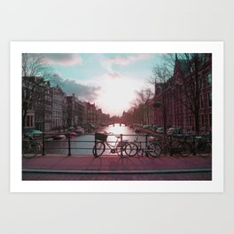 Biking in Amsterdam Art Print