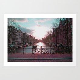 Biking in Amsterdam Art Print