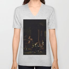 American Masterpiece 'Brownstone Front Stoop - New York' by Artist Unknown Unisex V-Neck