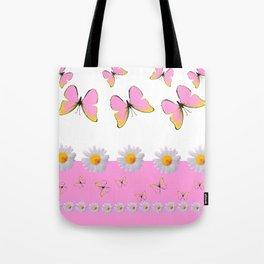 MODERN ART PINK BUTTERFLIES & WHITE DAISIES Tote Bag