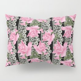 Gentle roses on a lace background. Pillow Sham