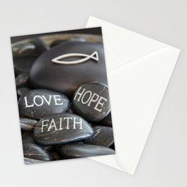 Love Faith Hope Christian Quote Black Pebble Embossing Stationery Cards