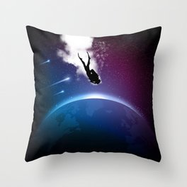 Space Dive Throw Pillow