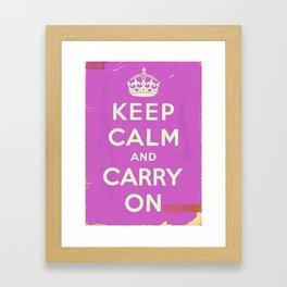 Keep Calm and Carry On Vintage worn Framed Art Print