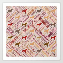 Bloodhound dog Word Art pattern Art Print