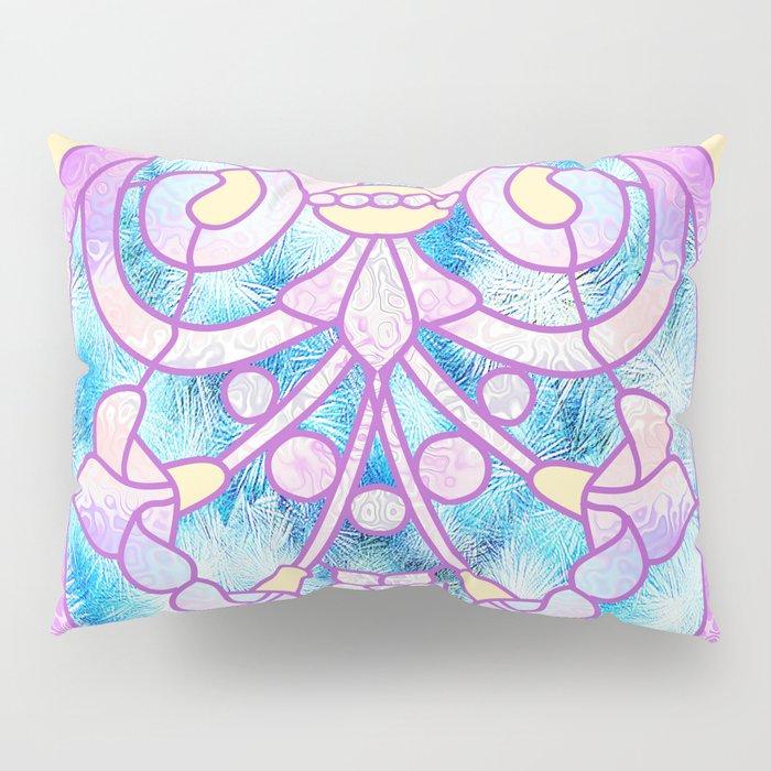 Art Nouveau Blue Pink And Yellow Batik Design Pillow Sham