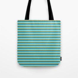 Green, Blue, Aquamarine & Dark Grey Colored Lined Pattern Tote Bag