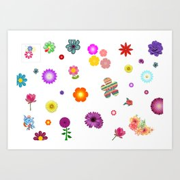 Spring Pattern of Colorful Flowers Art Print
