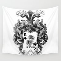 poker Wall Tapestries featuring Poker King Spades black and white by jbjart