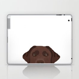 Peeking chocolate labrador dog breed cute dog face labrador retrievers Laptop & iPad Skin