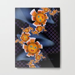 Orange Baby Flowers Metal Print