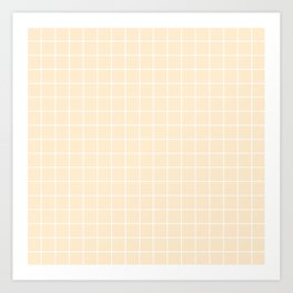 Blanched almond - pink color - White Lines Grid Pattern Art Print