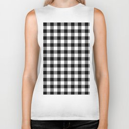 90's Buffalo Check Plaid in Black and White Biker Tank