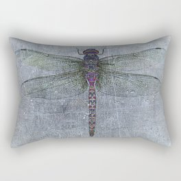 Dragonfly on blue stone and metal background Rectangular Pillow