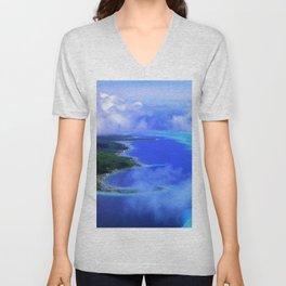 Heavenly Bora Bora Tropical Island Stunning Aerial View Unisex V-Neck