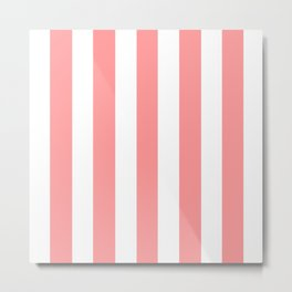 Light salmon pink - solid color - white vertical lines pattern Metal Print