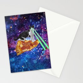 Galaxy Laser Beam Eyes Cat on Pizza Stationery Cards