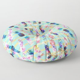 watercolor and nebula pineapples stripes design Floor Pillow