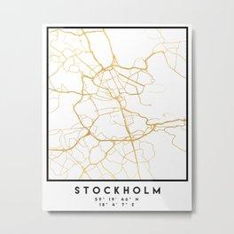 STOCKHOLM SWEDEN CITY STREET MAP ART Metal Print