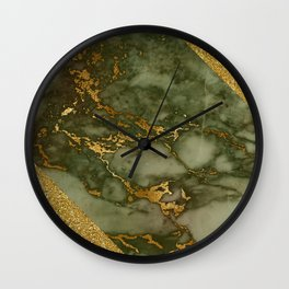 Green Marble with Gold and Glitter I Wall Clock