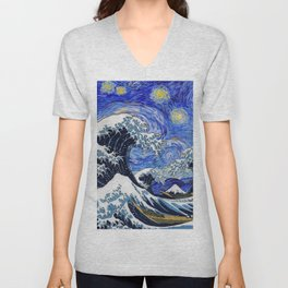 "Hokusai,""The Great Wave off Kanagawa"" + van Gogh,""Starry night"" 2 Unisex V-Neck"
