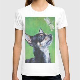 Chihuahua dog art portrait from an original painting by L.A.Shepard T-shirt