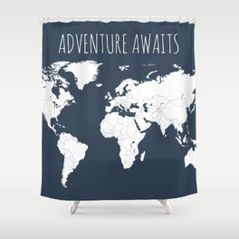 Adventure Awaits World Map in Navy Blue Shower Curtain