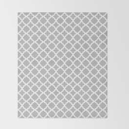 Lattice Gray on White Throw Blanket