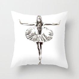 Robot Ballerina | Creepy Cyborg Ballerina Throw Pillow