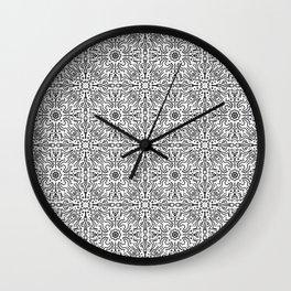 Techy doodles - symmetrical pattern - black and white tiles Wall Clock